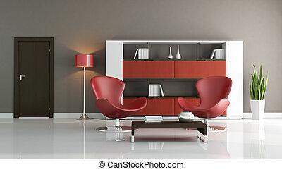 brun, salle moderne, rouges, vivant