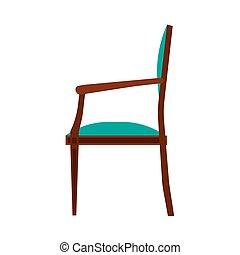 brun, salle, vendange, vue, côté, élégance, siège, vecteur, luxe, élégant, intérieur, ?lassic, icon., chaise confortable, meubles