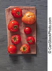 brun, serviette, frais, mensonge, tomates, huit