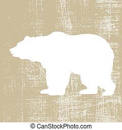 brun, silhouette, illustration, fond, vecteur, ours