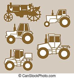 brun, silhouette, illustration, fond, vecteur, tracteur