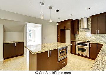 brun, skåp, rum, trim., nymodig, matte, granit, kök