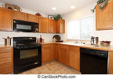 brun, skåp, svart, tillämpligheter, kök