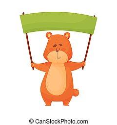 brun, sourire, ours, illustration, tenue, vecteur, caractère, copyspace, bannière