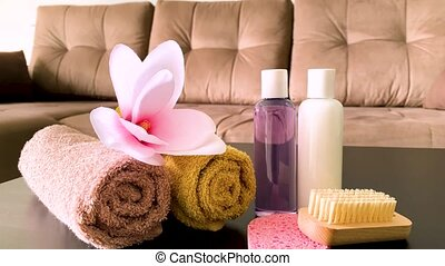 brun, spa., salle, hôtel, chocolat, treatment., serviette, spa, composition