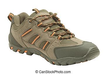 brun, sport, chaussure