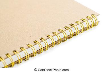 brun, stack, bindemedel, bok, notebook., ringa, eller