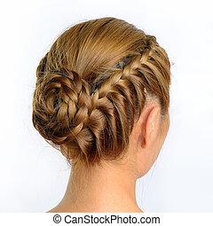 brun, style, backgroun, isolé, long, créatif, cheveux, blanc...