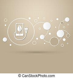 brun, style, puissance, usb câble, téléphone, eco, infographic., moderne, élégant, charge, conception, fond, connecté, icône