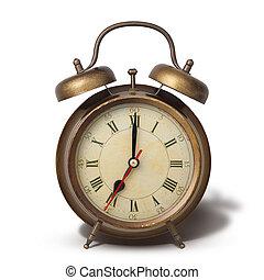 brun, style, vieux, horloge, reveil, isolé, ombre, blanc