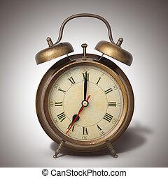 brun, style, vieux, horloge, reveil, ombre
