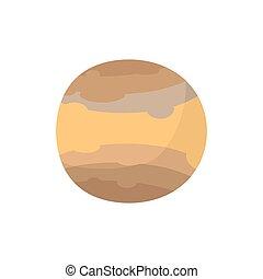 brun, système solaire, isolé, planète, jupiter, fond, blanc, style., dessin animé