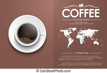 brun, tasse à café, fond, texte