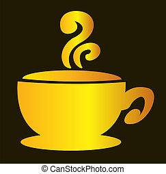 brun, tasse à café, illustration, arrière-plan., vecteur