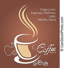brun, tasse à café, illustration, fond, blanc