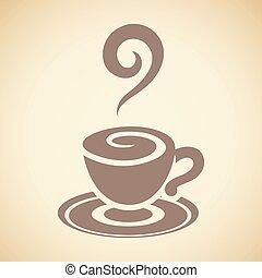 brun, tasse à café, isolé, illustration, vecteur, fond, blanc, icône
