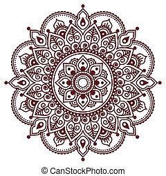 brun, tatouage, henné, p, indien, mehndi