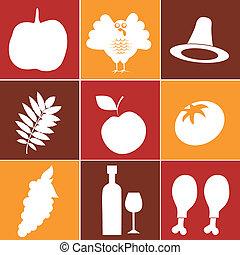 brun, thanksgiving, jaune, silhouettes, neuf, fond, blanc, jour, rouges