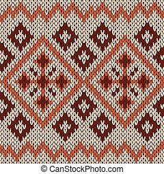 brun, tricot, hues, modèle, seamless, orange, beige