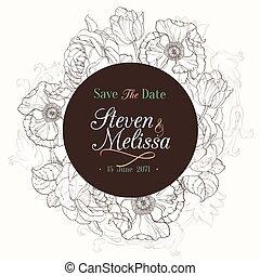 brun, tulipes, vendange, mariage, chocolat, vecteur, invitation, floral, dessin