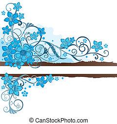 brun, turquoise, fleurs, bannière