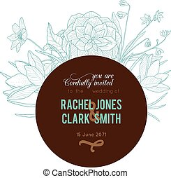 brun, turquoise, vendange, cadre, mariage, chocolat, vecteur, invitation, floral, dessin
