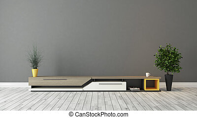 brun, tv, moderne, gris, mur, conception, stand
