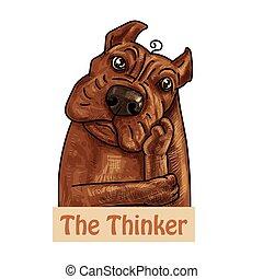 brun, tyran, pose., pensée, chien, portrait