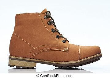 brun, une, chaussure, désinvolte