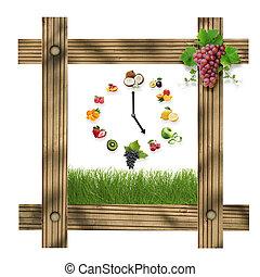 brun, uppgjord, klocka, mat, ram, vit, hälsosam, isolerat, Trä, grön, bakgrund, frukter, frukter, Gräs, begrepp, centrera