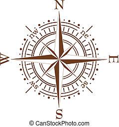 brun, vecteur, compas