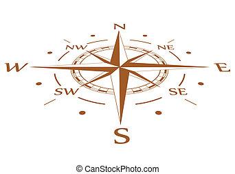brun, vecteur, comprimé, compas