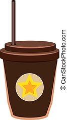 brun, vecteur, tasse blanche, illustration, arrière-plan.