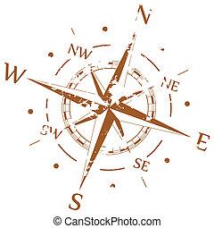 brun, vektor, grunge, kompass