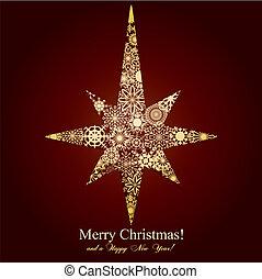 brun, vektor, stjärna, snöflingor, illustration, bakgrund, jul, mage
