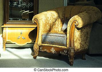 brun, velours, fauteuil