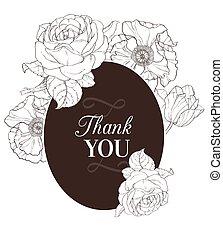 brun, vendange, chocolat, vecteur, mariage, floral, dessin