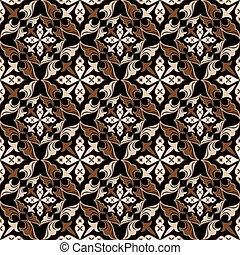 brun, vendange, pattern., seamless, vecteur, beige, floral