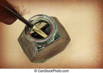 brun, verre, stylo, papier, bouteille, encre, penne