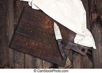 brun, vieux, bois, vide, planche découper, couteau, cuisine