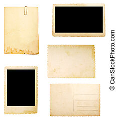 brun, vieux, note papier, fond