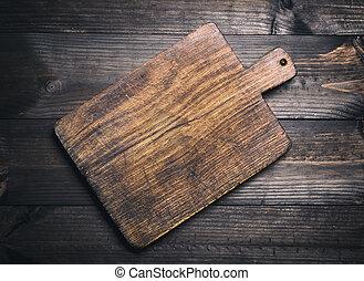 brun, vieux, très, bois, planche découper, vide, cuisine