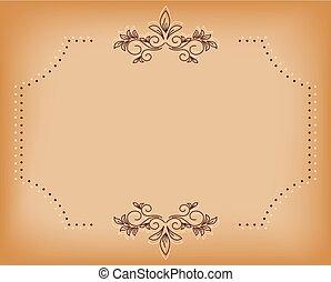 brun, vieux, -, tracery, vecteur, beige, carte
