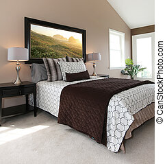 brun, vit, nymodig, säng, nightstands.