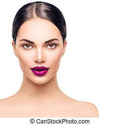 brunatne wejrzenie, kobieta, piękno, makijaż, brunetka, portrait., profesjonalny