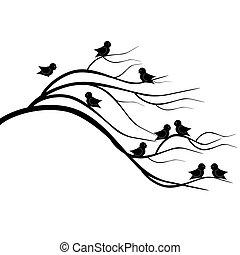 brunch, baum, vögel