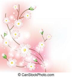 brunch, fioritura, albero, fondo, colorito