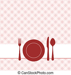 Vector brunch invitation with red pattern