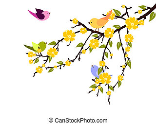Vector illustration of colorful bird of a flourish branch
