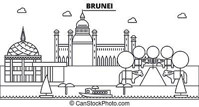 Brunei architecture skyline buildings, silhouette, outline...